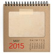 2015 calendar brown notebook with old blank photo Stock Illustration