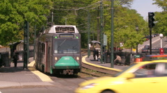 Boston Commuter Train Leaving Stock Footage