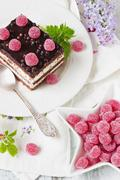 cake and raspberry candy - stock photo