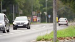 Speed trap at a german road. Slow motion. Stock Footage