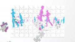 Puzzle pieces fly in and form an animation of blue and pink silhouetted people  Stock Footage