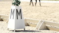 Horse dressage rings and a rider Stock Footage