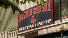 Red Sox Starting Lineup Sign at Fenway Park Stock Footage
