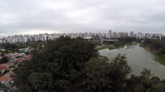 Aerial View from Ibirapuera Lake in Sao Paulo, Brazil Stock Footage