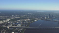 Jacksonville, Skyline Bridge Florida Aerial Stock Footage