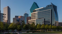 Time-lapse of shadow moves across Dallas building Stock Footage