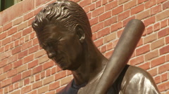 Ted Williams Jimmy Fund Statue Close Up Ted - stock footage