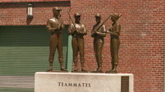 Bronze Red Sox Teammates Statue in Boston Stock Footage