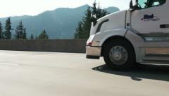 Semi Truck with Mountain Background Stock Footage