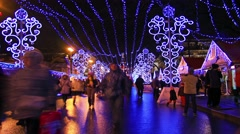 Christmas fair in big city at night, Saint Petersburg, time-lapse. Stock Footage
