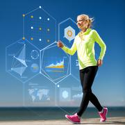 smiling young woman exercising outdoors - stock illustration