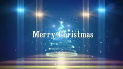 christmas tree in the room, text merry christmas and happy new year - stock footage