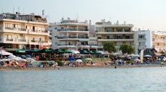 Crowded resort at seaside Stock Footage