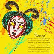 Venetian carnival mask - stock illustration