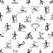 Extreme sports seamless pattern - stock illustration
