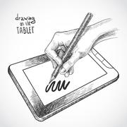 Hand drawing on the tablet Stock Illustration