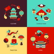 China illustration set Stock Illustration