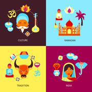 Stock Illustration of India flat set