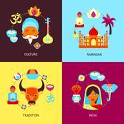 India flat set - stock illustration