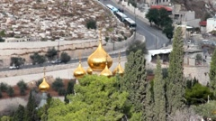 Church of Mary Magdalene located on  Olives Mount in Jerusalem, Israel Stock Footage