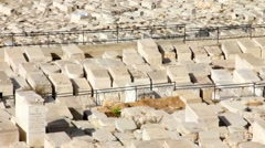 Ancient Jewish cemetery on the Mount of Olives Jerusalem. Israel Stock Footage