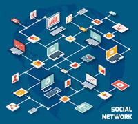 Social network isometric Piirros
