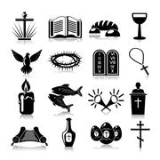 Christianity icons set black - stock illustration