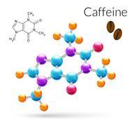 Caffeine molecule 3d - stock illustration