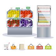 Supermarket fruits vegetables Stock Illustration