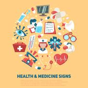 Stock Illustration of Health and medical signs concept