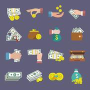 Money icon flat - stock illustration