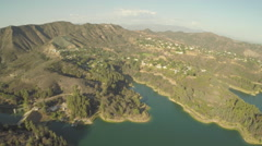 Aerial Shot of Lake Hollywood Stock Footage