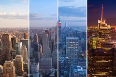Montage of manhattan skyline night to day - new york - usa Kuvituskuvat
