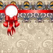 Ethnic ornamental pattern with silk ribbon Stock Illustration