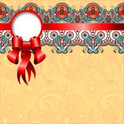 Stock Illustration of ethnic ornamental pattern with silk ribbon