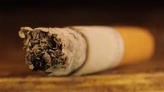 Cigarette macro slowly smolders. Tobacco, Smoking, cigarette Stock Footage
