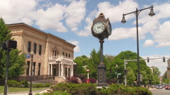Clock in New England Town Square - stock footage