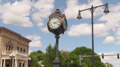 Tall Clock in New England Town Square Stock Footage