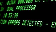 Computer screen / VDU close up - System Errors Detected message - stock footage