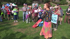 Community environmentalists protest to save the planet from pollution Stock Footage