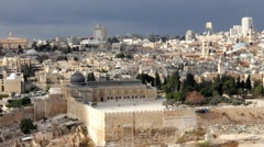 Stock Video Footage of Dome of the Rock and Al-Aqsa Mosque as viewed from Olives Mount. Jerusalem. Isra