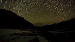 Time lapse of stars behind mountain Cho Oyu. Nepal Stock Footage