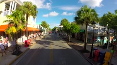 Aireal view of tourists on duval street in key west, florida Stock Footage