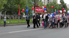 Parade is on the town streets dedicated Kolpino town anniversary Stock Footage