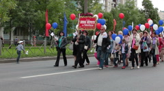 Parade is on the town streets dedicated Kolpino town anniversary, Russia - stock footage