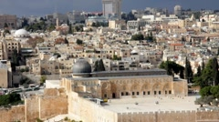 Stock Video Footage of Al-Aqsa Mosque as viewed from Olives Mount