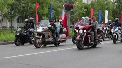 Bikers waiting a start of procession on central street Stock Footage