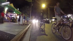 Duval street at night in key west florida keys Stock Footage