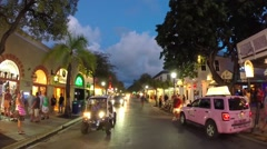 Night shot of duval street in key west, florida Stock Footage