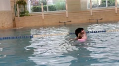 First swimming lessons Stock Footage